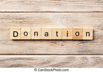concetto, parola, testo, donazione, scritto, legno, block., tavola