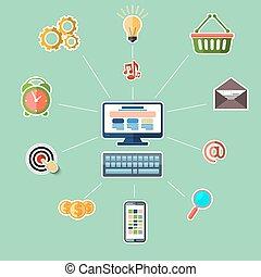 concetto, per, linea, marketing, su, sfondo blu