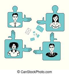 concetto, persone affari, confondere pezzi, lavoro squadra, cooperazione, squadra
