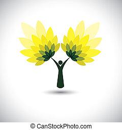 concetto, persone, eco, -, foglie, albero, verde, vector., icona