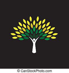 concetto, persone, eco, -, foglie, albero, vettore, verde, icona