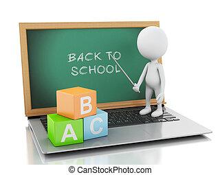 concetto, persone, laptop., linea, bianco, educazione, 3d