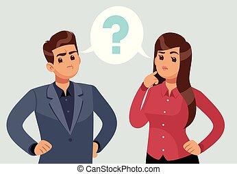 concetto, persone, pensare, mark., domanda, giovane, confuso, pensiero, pensieroso, vettore, coppia., ragazza, agitato, man.