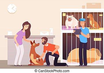 concetto, persone, riparo, animals., coccolare, vettore, senzatetto, cages., gatti, cani