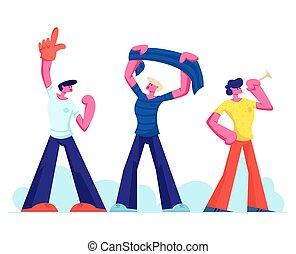 concetto, persone, sport, sostenitore, gruppo, tubi per condutture, giovane, ventilatori, stadio, calcio, eccitato, fiammifero, appartamento, campionato, osservare, football, illustrazione, bandiera, mondo, amici, cartone animato, applauso, vettore, divertimento, detenere