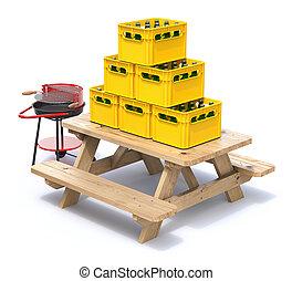 concetto, picnic, casse legno, birra, panca, pronto, barbecue