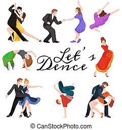 concetto, pictogram, ballo, progetto serie, rottura, striscia, stile, ballo, pancia, salsa, rotolo, balletto, bachata, hiphop, flamenco, contemporaneo, persone, tango, ballerino, indiano, roccia, icon.