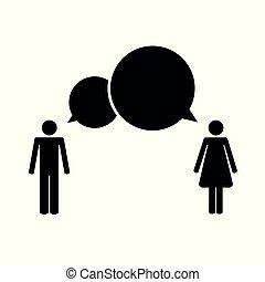 concetto, pictogram, comunicazione, donna, fra, uomo