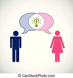 concetto, pictogram, comunicazione, idea, donna, possedere, uomo