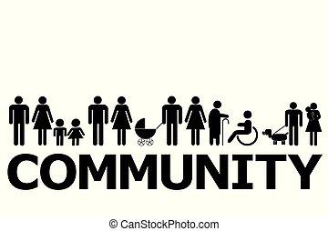 concetto, pictograms, comunità, persone
