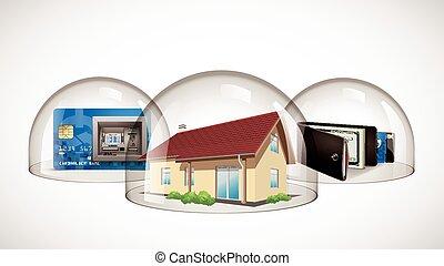 concetto, portafoglio, -, cupola, casa, credito, protezione, vetro, scheda