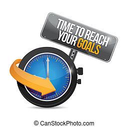 concetto, portata, illustrazione, mete, tempo, tuo