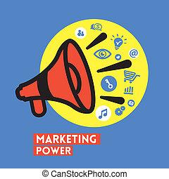 concetto, potere, marketing, illustrazione, vettore, megafono