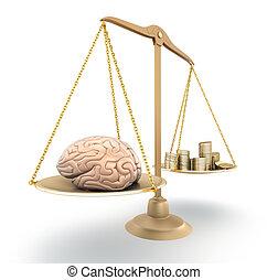 concetto, price., sopra, cervello, bianco, 3d