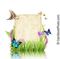 concetto, primavera, testo, isolato, carta, fondo, vuoto, bianco
