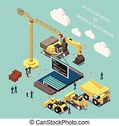 concetto, programmazione, sviluppo, isometrico