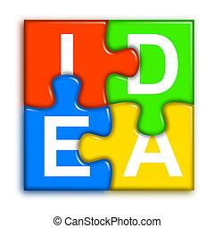 concetto, puzzle, -, idea, multi-colore, 2, combinato