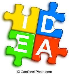 concetto, puzzle, -, idea, multi-colore, combinato