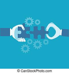 concetto, puzzle., mani affari