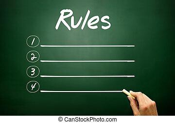 concetto, regole, lavagna, elenco, mano, vuoto, disegnato