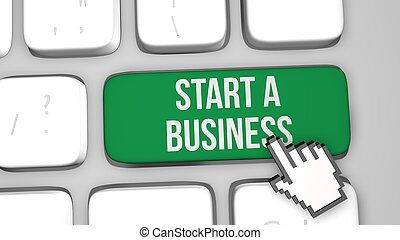 concetto, render, affari, inizio, key., tastiera, 3d, illustration.