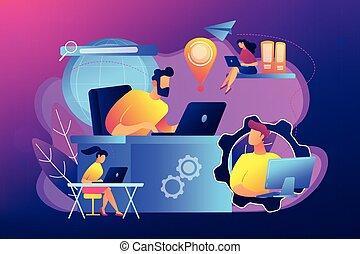 concetto, rete, collegamento globale, vettore, illustration.