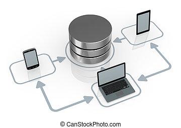 concetto, rete computer
