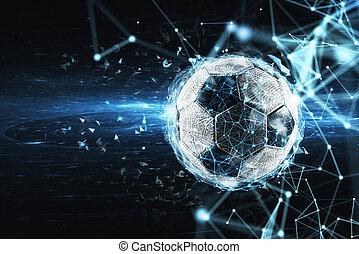 concetto, rete, effect., digitale, palla, internet, calcio, scommessa