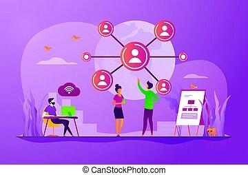 concetto, rete, globale, illustrazione, collegamento, vettore