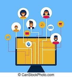 concetto, rete, media, app, computer, sociale