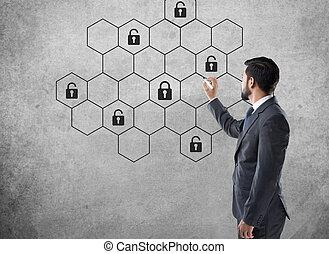 concetto, rete, serratura, cyber, sicurezza internet