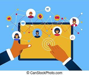 concetto, rete, tavoletta, media, app, sociale, congegno