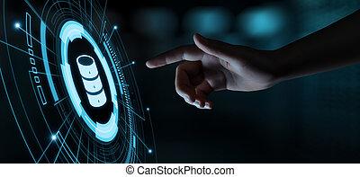 concetto, rete, tecnologia affari, server, internet, dati