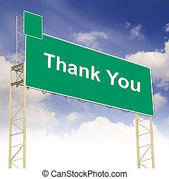 concetto, ringraziare, testo, segno, lei, strada