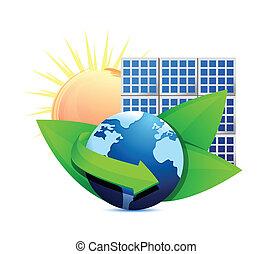 concetto, rinnovamento, energia, solare, globo, pannello