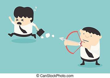 concetto, rischio, affari, vettore, socio, cartone animato