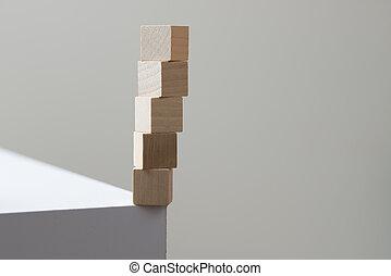 concetto, rischio, cubi, legno, bordo, tavola, equilibrio
