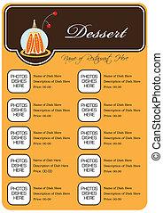 concetto, ristorante, dessert, pieno, disegno, menu