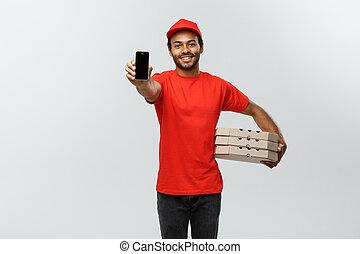 concetto, ritratto, assegno, -, isolato, fondo., lei, bello, pizza, order., corriere, esposizione, space., consegna, telefono, studio, copia, uomo, scatola, mobile, grigio, americano, africano, o