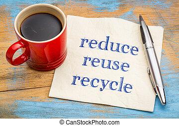 concetto, riutilizzare, -, conservazione, ridurre, riciclare