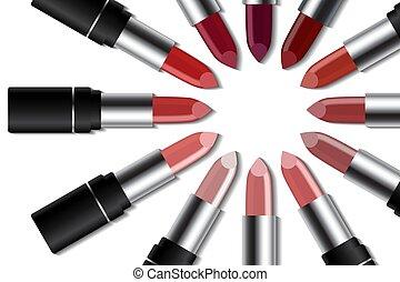 concetto, rossetto, colorito, fondo., set, trucco, bianco, moda