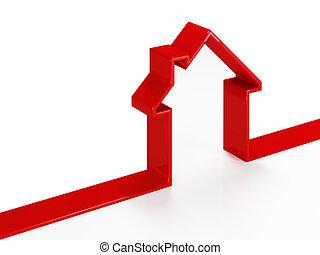 concetto, rosso, casa