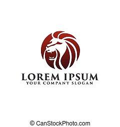 concetto, ruggito, leone, disegno, sagoma, logotipo