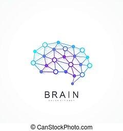 concetto, sagoma, colorito, intelligenza, concept., logotype, artificiale, idea, macchina, cervello, vettore, disegno, cultura, ai., icon., creativo, logo., simbolo