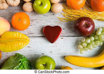 concetto, sano, sanità, cibi, fra, medicina, equilibrio