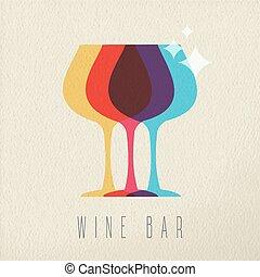concetto, sbarra, colorare, bevanda, vetro, disegno, icona, vino