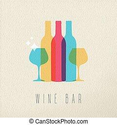 concetto, sbarra, ristorante, disegno colore, icona, vino