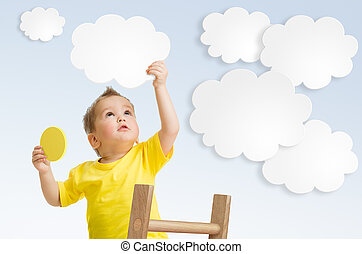concetto, scala, cielo, fissaggio, usando, nuvola, capretto
