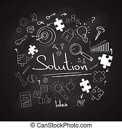 concetto, scarabocchiare, puzzle, gesso, nero, asse, bianco,...