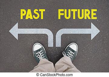 concetto, scarpe, -, istruttori, passato, futuro